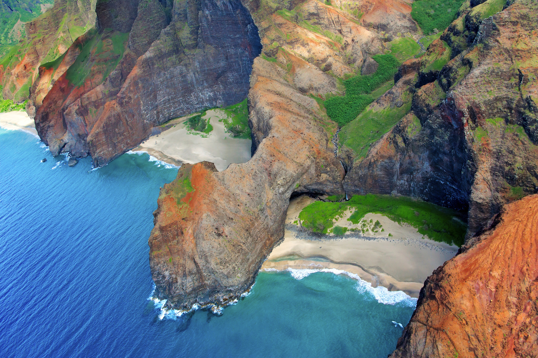 Hawaii, Kauai, Na Pali Coast, Aerial Of Coastal Cliffs And Honopu Beach (Or Cathedral Beach).