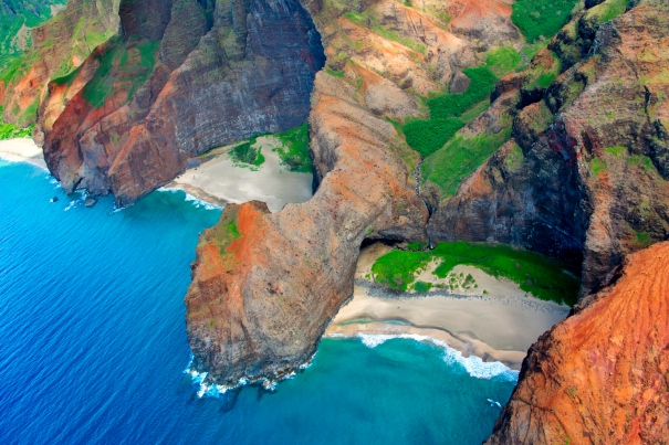 Hawaii, Kauai, Na Pali Coast, Aerial Of Coastal Cliffs And Honopu Beach (Or Cathedral Beach).