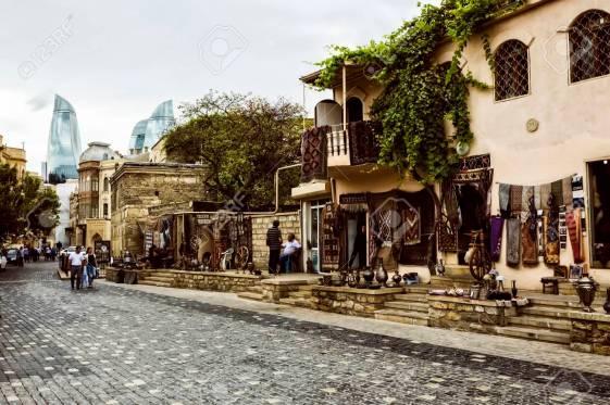 Icheri Sheher (Old Town) and the Flame Towers of Baku, Azerbaija