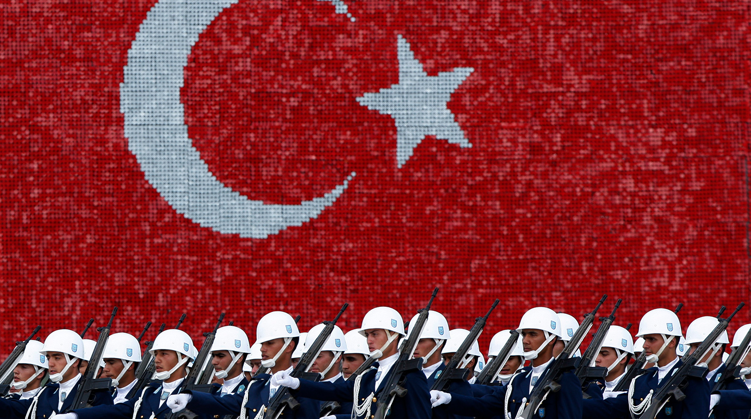 Turkish air force cadets march during a graduation ceremony for 197 cadets at the Air Force war academy in Istanbul